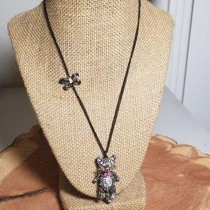 Betsey Johnson Pave Cat Necklace